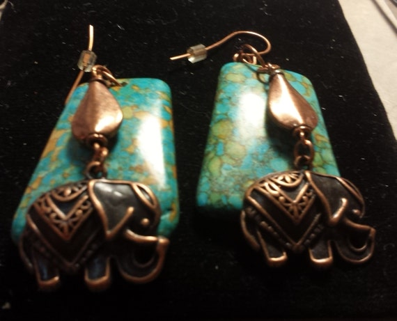 Turquoise (magnesite) Chunk and Copper Elephant Earrings