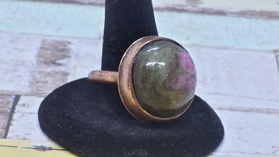 Round Ruby in Ziosite Copper Ring