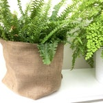 "Large Hessian Plant Bag Fabric Storage Bin 10"" wide"
