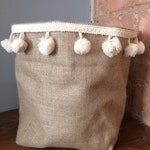 Cream pom pom trim hessian storage bag 10""