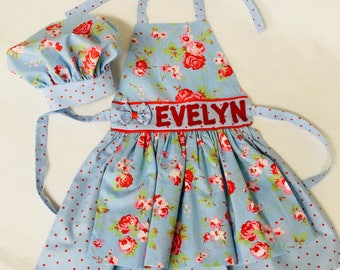 Girls (age 7-8) Blue Roses apron and chef hat set