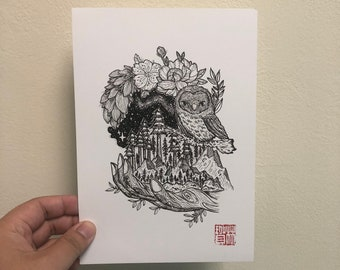 A5 Print- Owl and a wooden Hand in the night sky