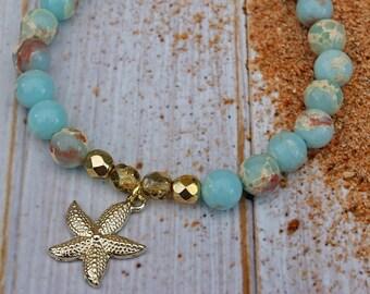 Starfish bracelet-, snakeskin of Jasper
