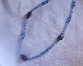 Necklace blue glass beads
