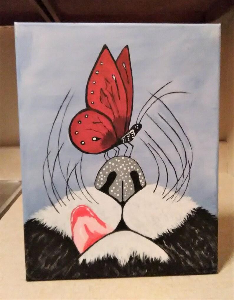Nez De Chat Et Papillon Peinture Acrylique Papillon Rouge Etsy