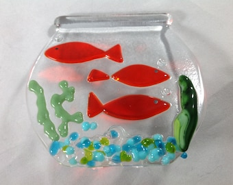 fish bowl fish pet fused glass aquarium night light etsy