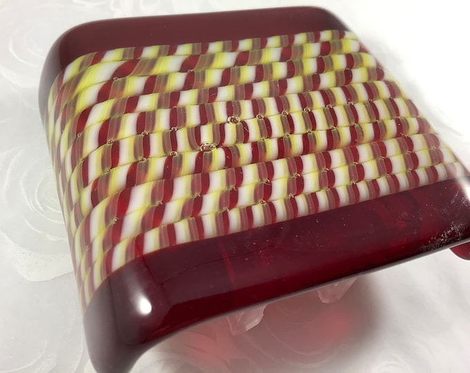 Red Stripes Fused Glass Plug In Night Light with Slumped Curved Edges Mini Wall Sconce SALE