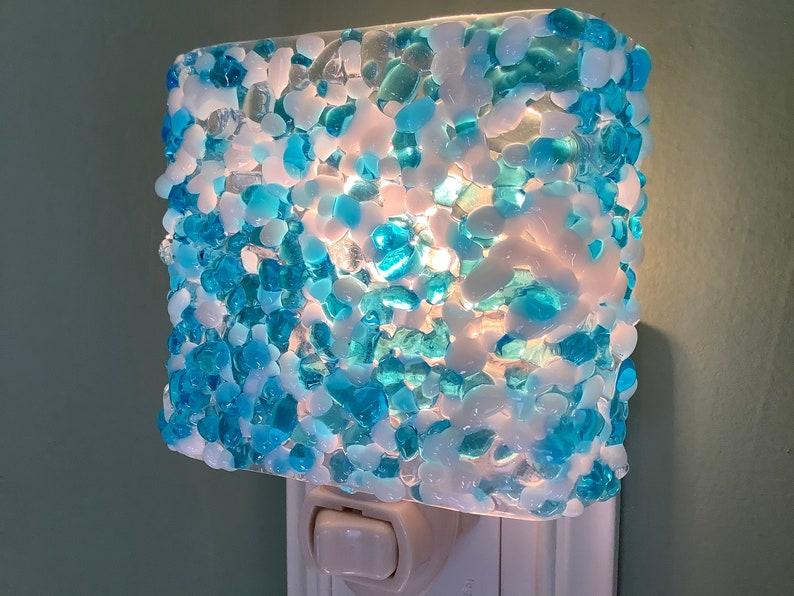 Winter Wonderland Pebble Fused Glass Plug In Ice Night Light with Slumped Rounded Edges