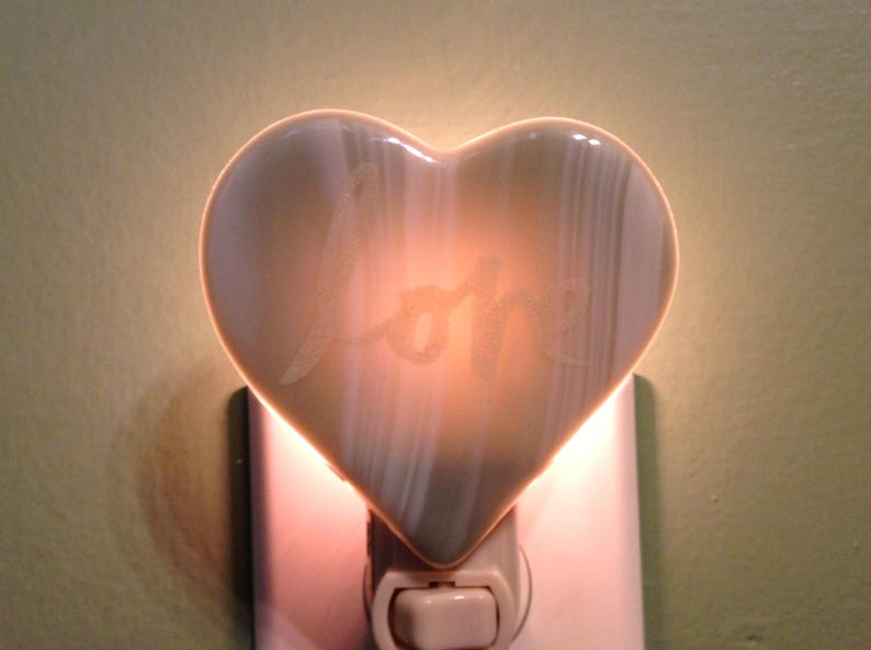 Heart of Love Sage Green Fused Glass Plug In Mother/'s Day Night Light SALE