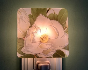 Magnolia Floral Fused Glass Plug In Flower Night Light with Draped Sides