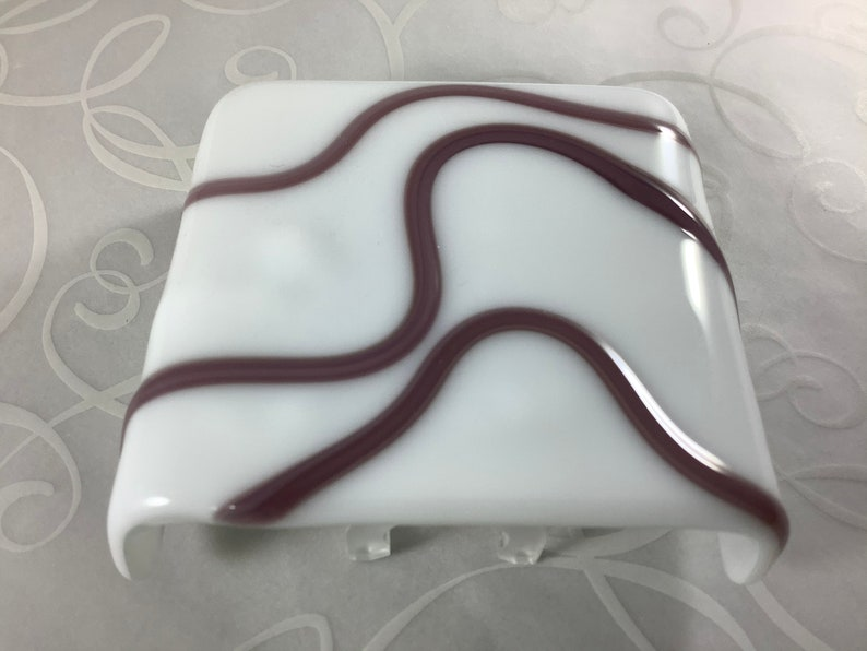 Purple and White Geometric Wave Fused Glass Plug In Night Light with Slumped Rounded Edges Mini Wall Sconce BLOOPER SALE