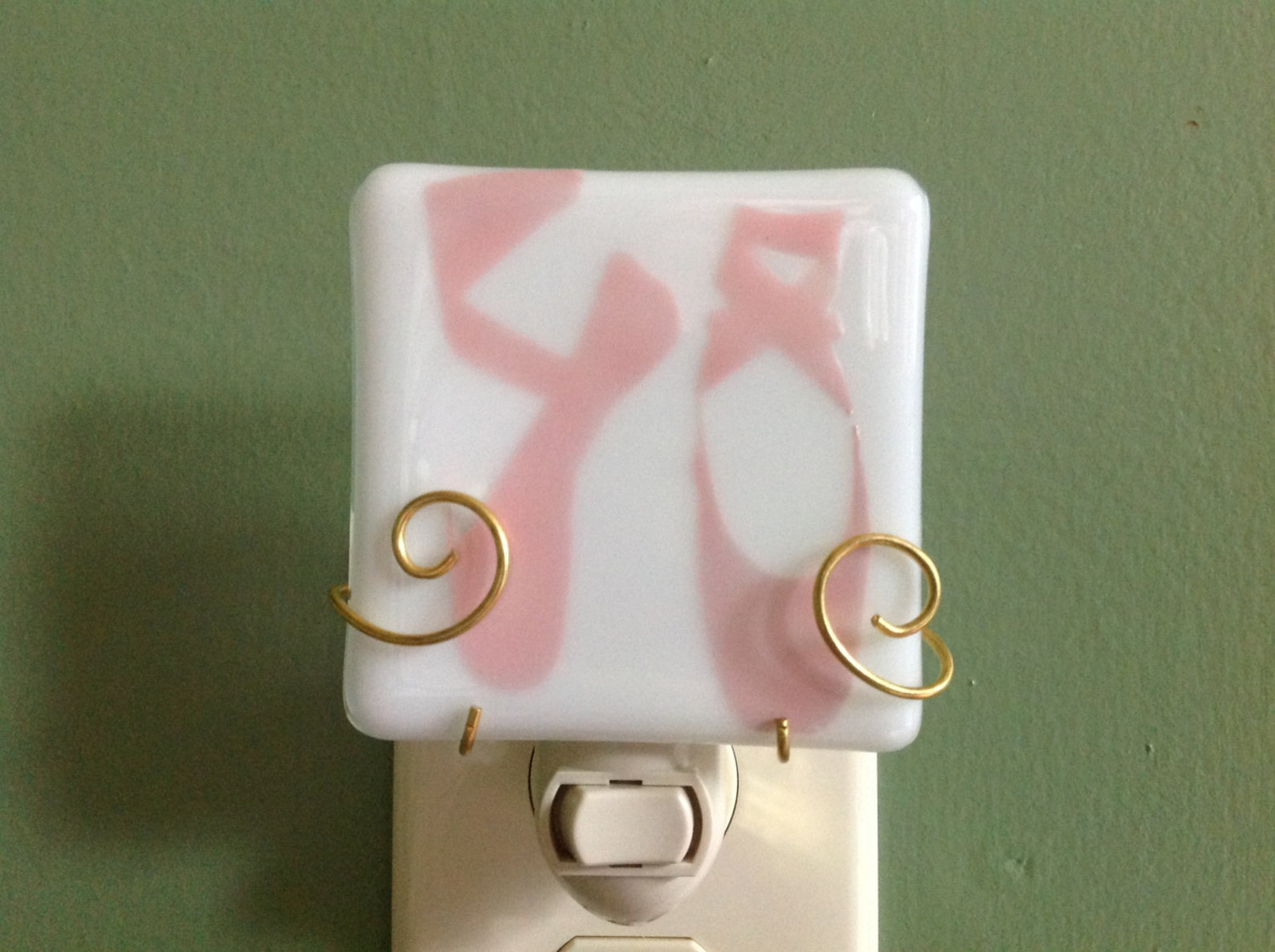 ballet slippers fused glass plug in night light or changeable shade ballerina
