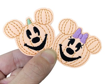 Glow in the Dark Mr and Mrs Mouse Jack O Lantern Feltie Felties for Hairbows Coffee Cozies Planner Clips