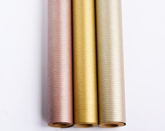 Metallic Colour Kraft Recycled Wrapping Paper Roll, Eco Friendly, Crafts, Wrapping, Rose Gold, Silver, Gold
