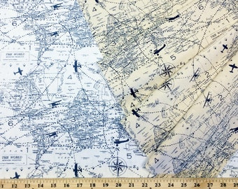 Planes Fabric by the YARD, BOLT or Sample Premier Prints Air Traffic Felix Blue Navy White or Natural Home Decor Upholstery SHIPsFAST