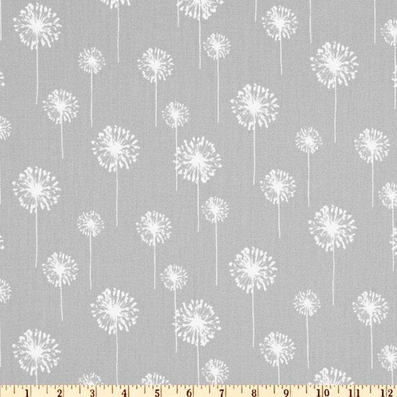 Grey Dandelion Fabric By The Yard, Dandelion Print Curtains