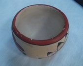 Pueblo Native American Pottery Bowl, Hand Painted and signed.