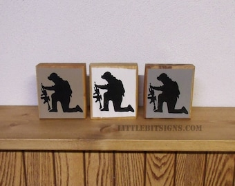 Soldier Shelf Sitter, IN STOCK, Military Sign, Fallen Soldier, 4x4, Hand Painted, Soldier Silhouette, Small Military Sign, SKU-171
