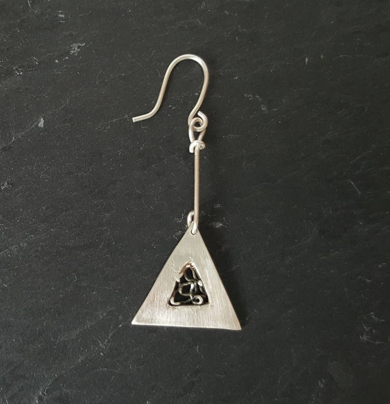 triangle long drop earrings Hand crafted Gift idea. Precious metal clay earrings Open fine silver oxidised lattice work in the centre