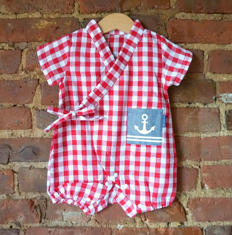 a9f564ff9 Baby kimono summer romper marine anchor nautical-baby japanese | Etsy