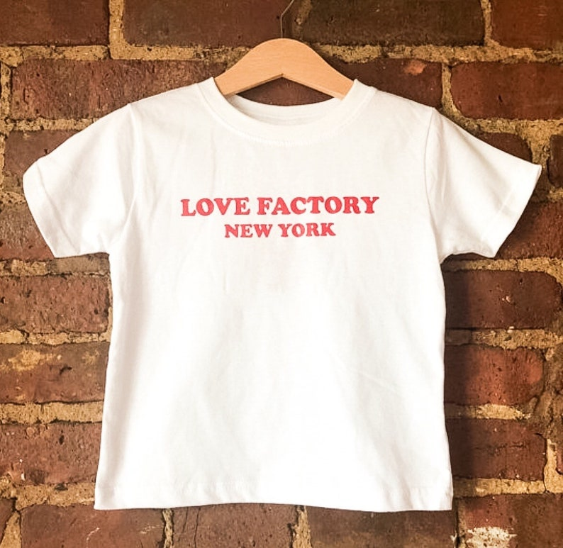 Love Factory New York Logo Kids T Shirt White Red Etsy