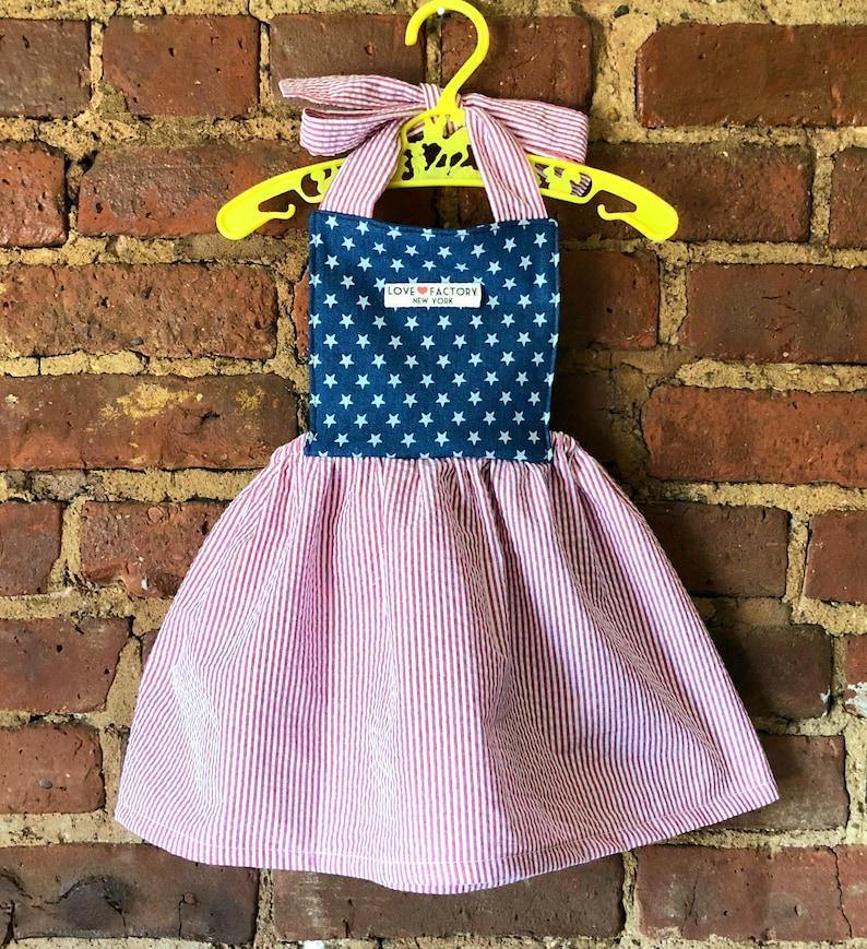768381d758c Baby girl pinafore dress American flag USA baby girl