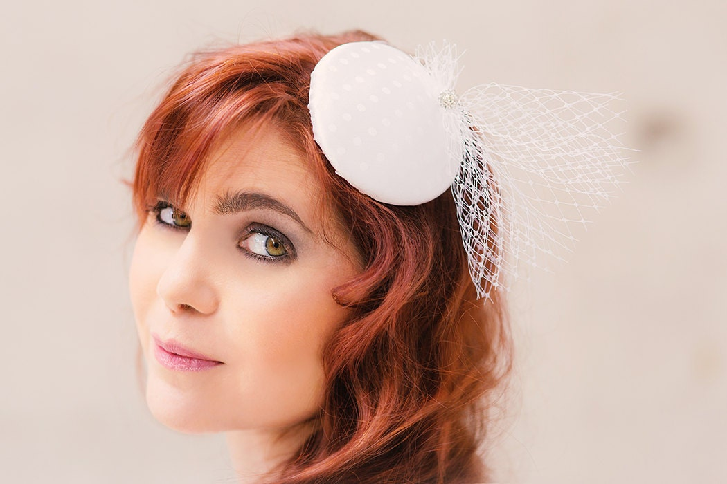 Bridal Fascinator White Polka Dots With Veil And Rhinestones Etsy