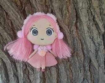 Chibi kawaii doll, robe rose