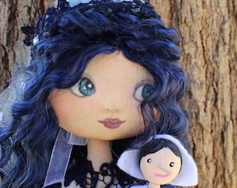 la fée bleue et Pinocchio, poupée en tissu