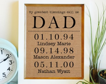 My greatest blessings call me Dad | Pop Papa PawPaw | Personalized Father's Day Gift | Children's Names & birthdates |Artwork Only