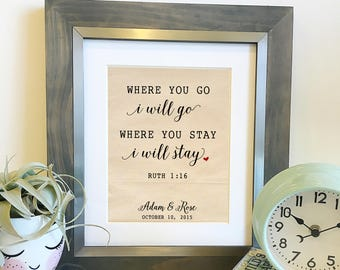 Where you go I will go Ruth 1 16   Personalized Cotton Anniversary Print   Gift for Wife   Bible Verse Scripture   Frame not included