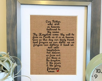 The Lord's Prayer Burlap Print | Cross | Matthew 6:9-13 | Bible Verse Quote | Scripture Wall Art | Christian Print | Frame not included