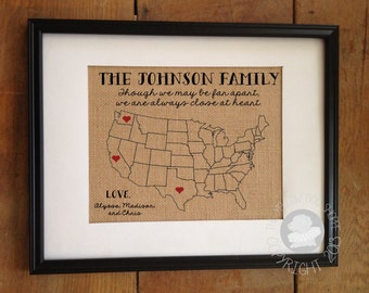 though we may be far apart we are always close at heart personalized state burlap print mom dad christmas gift frame not included