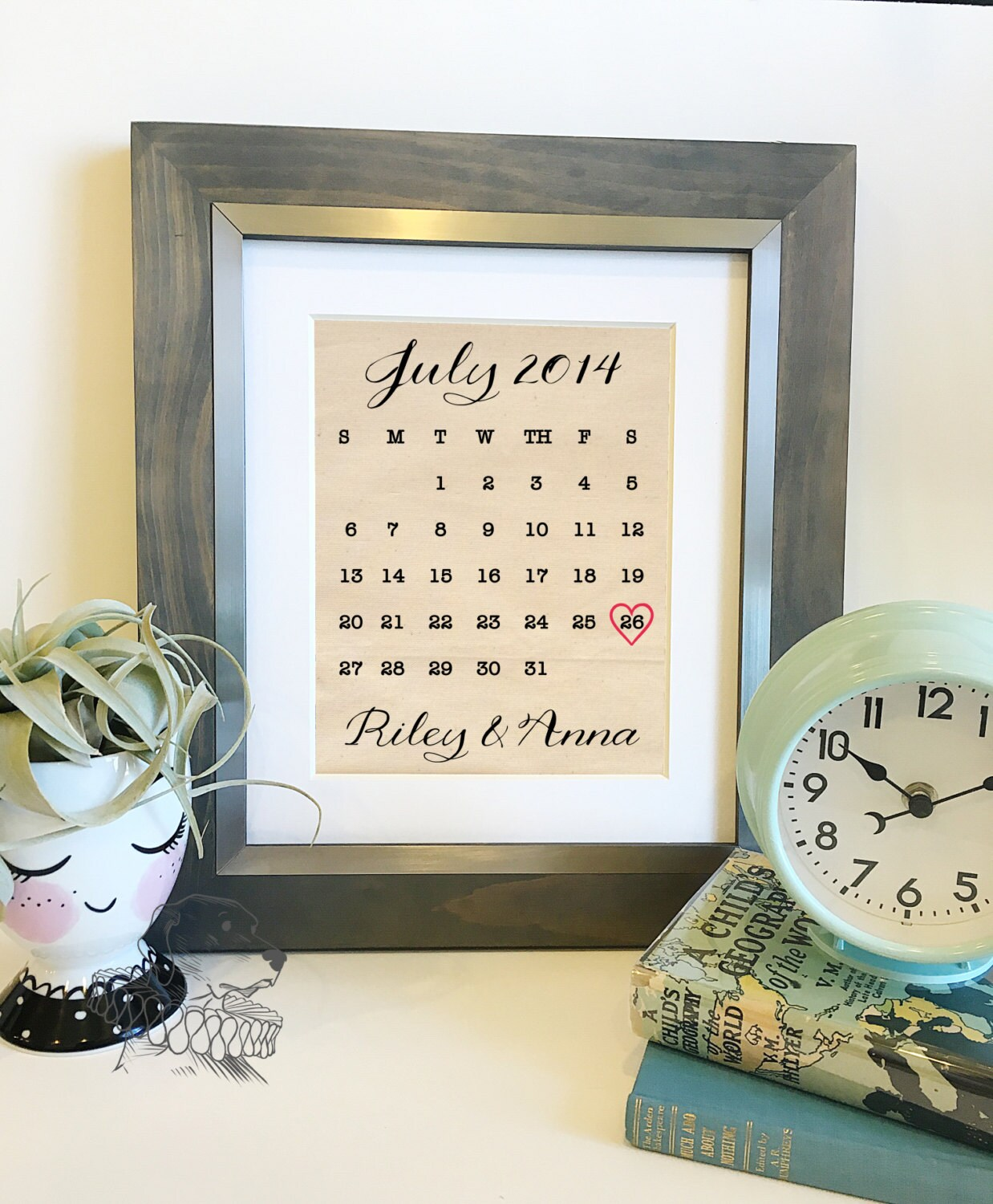 Unique Wedding Gifts For Second Marriage: Wedding Calendar Cotton Print Personalized Cotton 2nd