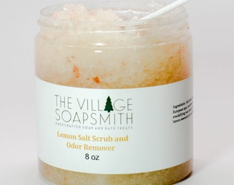 Lemon Salt Scrub and Odor Remover, all natural salt scrub, body polish, exfoliating scrub, natural body scrub, sea salt scrub