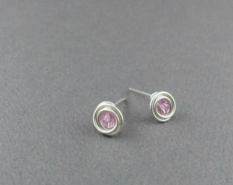 Swarovski Birthstone & Sterling Silver Post Earrings Swarovski Crystal Earrings Sterling Silver Stud Earrings for Women Small Stud Earrings