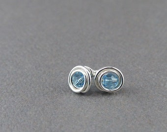 Swarovski Birthstone & Sterling Silver Post Earrings Swarovski Crystal Earrings Sterling Silver Stud Earrings for Women Small Stud Earrings