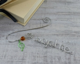 Personalized Wire Name Book Mark  - Custom Bookmarks - Book Lover Bookmark Graduation Day Gift,  Valentine's Gift or Teachers Gift