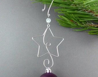 star christmas tree ornament hangers wire star ornament hooks handmade christmas tree decoration hanger christmas tree star - Christmas Ornament Hooks