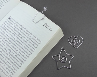 Star Mug Heart Page Holder Bookmarks - Shaped Paperclip bookmark - handmade wire bookmark