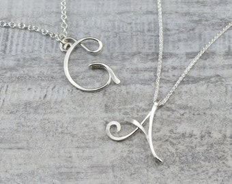 Personalized Initial Pendant - Sterling Silver Initial Necklace - Handmade Wire Initials - Birthday Gift - Graduation Gift