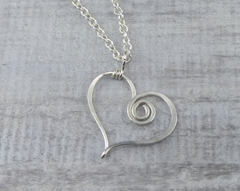 Silver Heart Pendant - Sterling Silver Heart Necklace - Wire Heart Pendant - Valentines Gift - Flower Girl Necklace