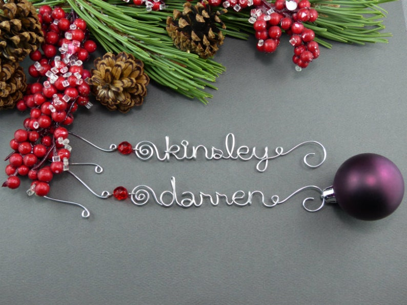 Personalized Ornaments Wire Name Christmas Ornament Hangers Etsy