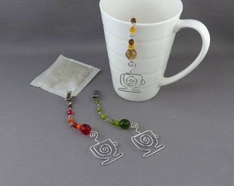THREE Tea Bag Steepers -Tea Bag Holder Clip with silver tea cup and beads For Loose Tea Bags - Hostess Gift