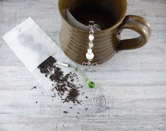 TWO Tea Bag Steepers - Clip for Tea Bags with Silver Tea Cup and Beads - Hostess Gift Steeped Tea Bag Clip Infuser