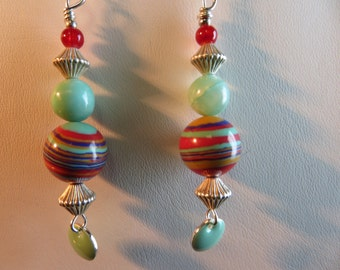 Green And Striped Beads Of Red And  Gold With An Enameled Mint Disc Drop Earrings