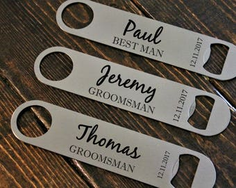 Groomsman gift, best man gift, bottle opener, stainless, personalized wine, personalized beer, bridesmaid gift, maid of honour gift, custom
