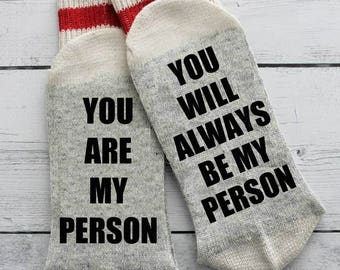 Grey's Anatomy, socks, you are my person, mother's day, wine socks, grey socks, men's socks, gift, if you can read this, I love you, mom,