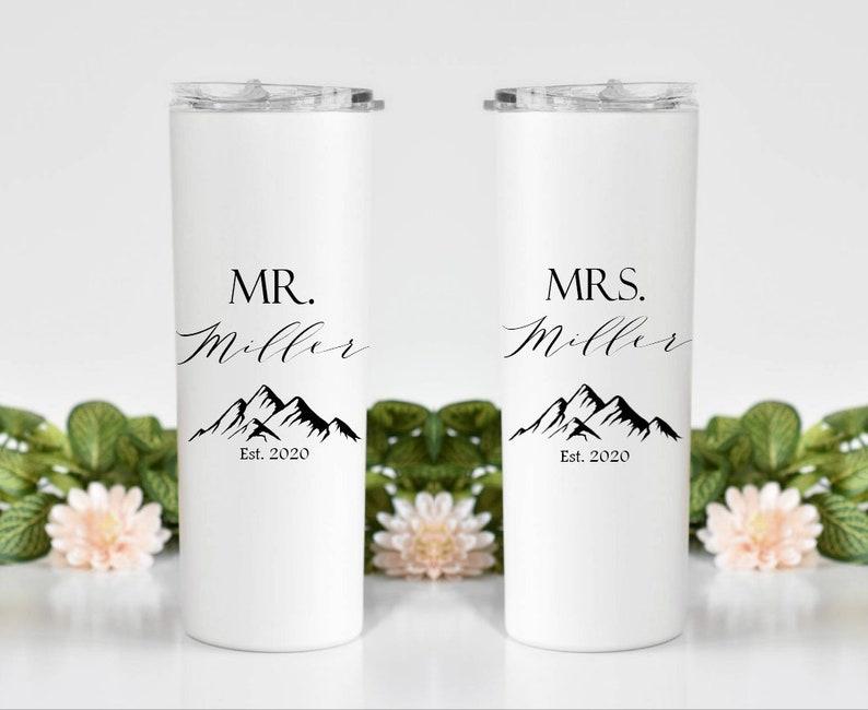 est 2021 bride gift newlyweds wifey gift for couple Wedding gift hubby honeymoon gift wedding party gift custom water bottle
