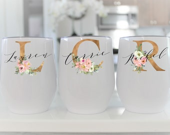 Wedding Personalized Wine Tumbler Customized wine glass Bridesmaid Gift  monogram cup Wedding Favors Bridal Party Gift stemless wine glass